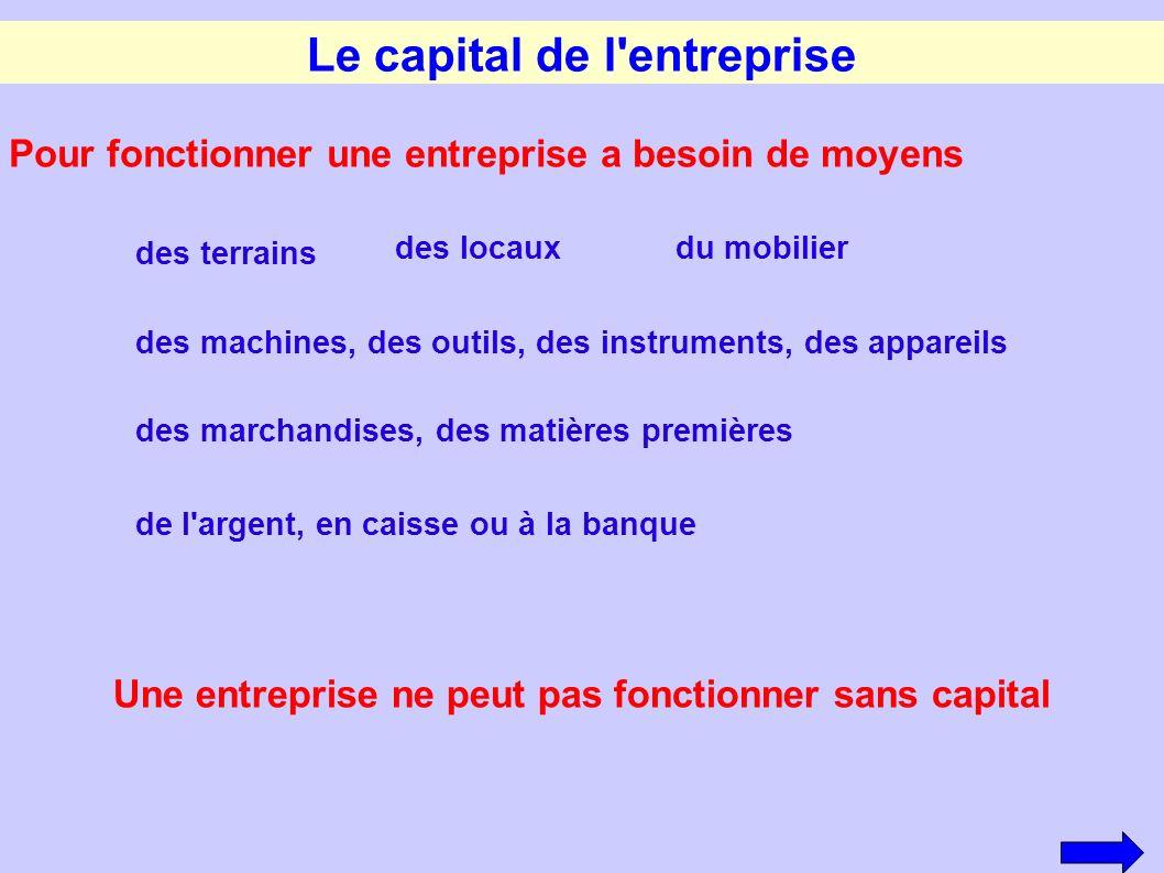 Le capital de l entreprise
