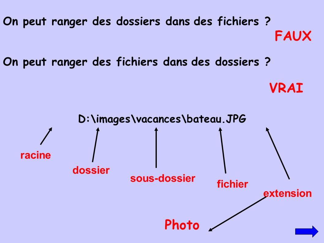 FAUX VRAI Photo On peut ranger des dossiers dans des fichiers