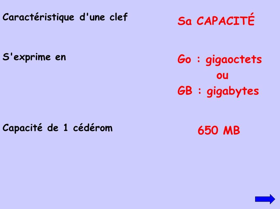 Sa CAPACITÉ Go : gigaoctets ou GB : gigabytes 650 MB
