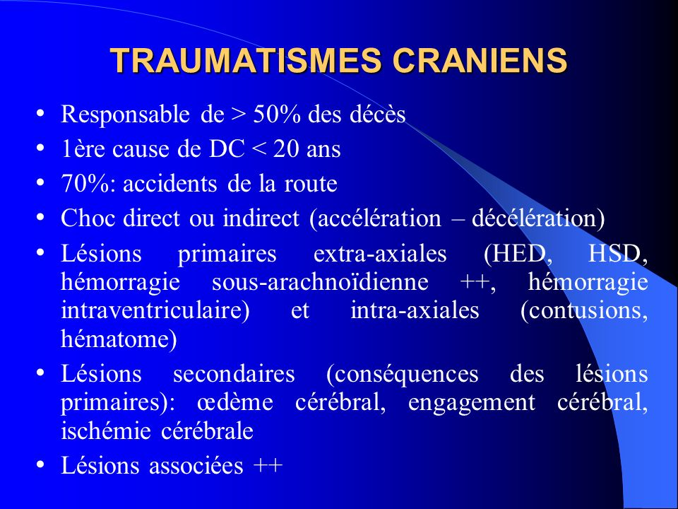 TRAUMATISMES CRANIENS