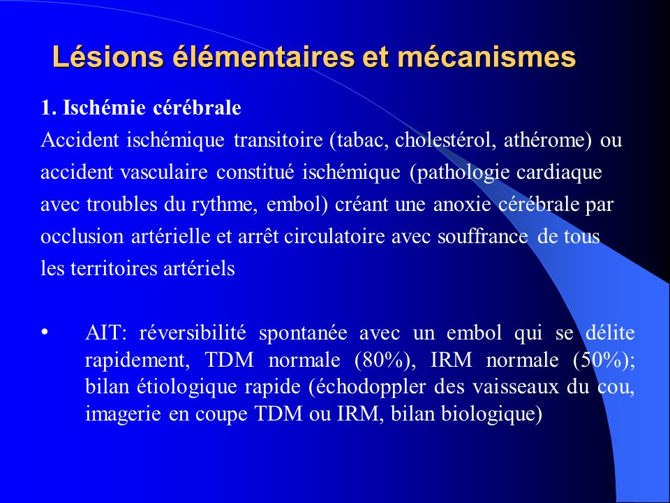 Lésions élémentaires et mécanismes