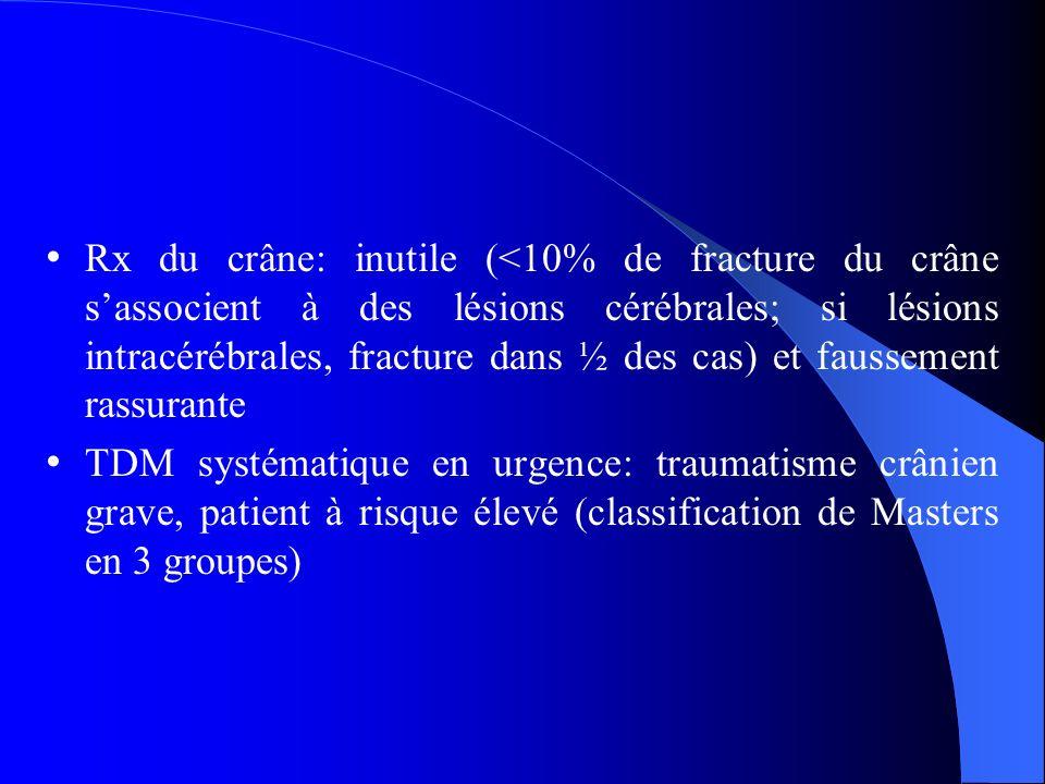 Rx du crâne: inutile (<10% de fracture du crâne s'associent à des lésions cérébrales; si lésions intracérébrales, fracture dans ½ des cas) et faussement rassurante