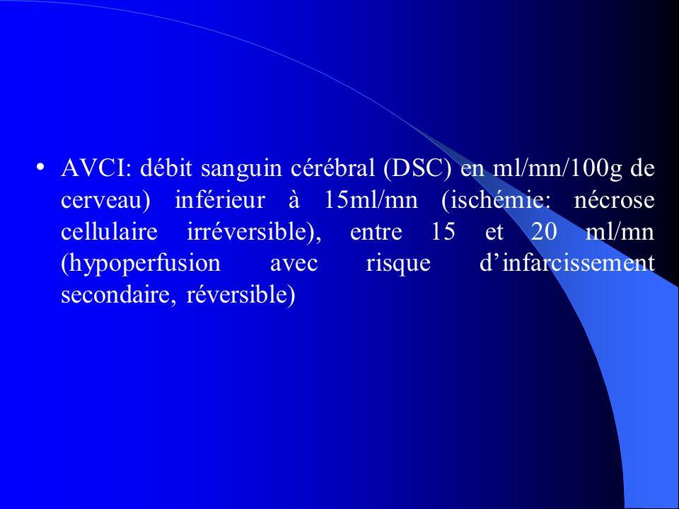 AVCI: débit sanguin cérébral (DSC) en ml/mn/100g de cerveau) inférieur à 15ml/mn (ischémie: nécrose cellulaire irréversible), entre 15 et 20 ml/mn (hypoperfusion avec risque d'infarcissement secondaire, réversible)