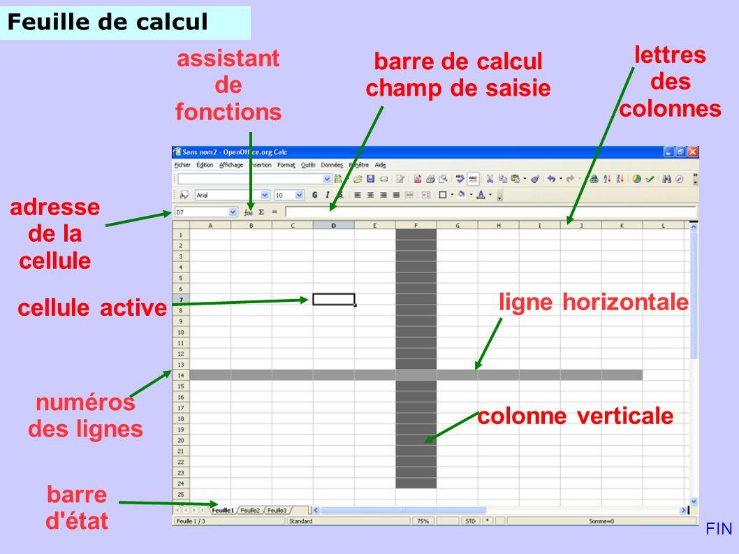 lettres assistant barre de calcul des colonnes de fonctions