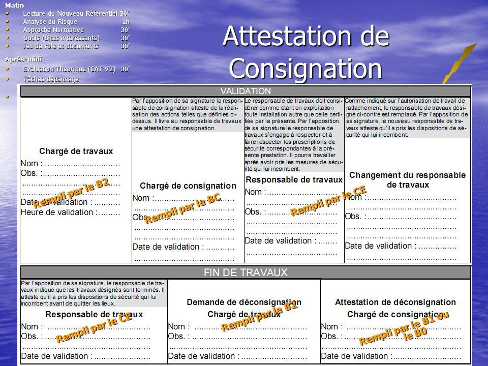 Attestation de Consignation