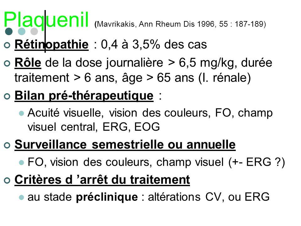 Plaquenil (Mavrikakis, Ann Rheum Dis 1996, 55 : 187-189)