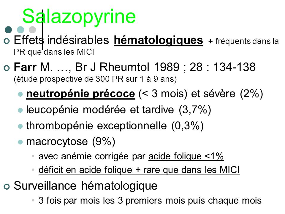Salazopyrine Effets indésirables hématologiques + fréquents dans la PR que dans les MICI.