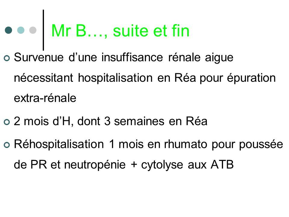 Mr B…, suite et finSurvenue d'une insuffisance rénale aigue nécessitant hospitalisation en Réa pour épuration extra-rénale.