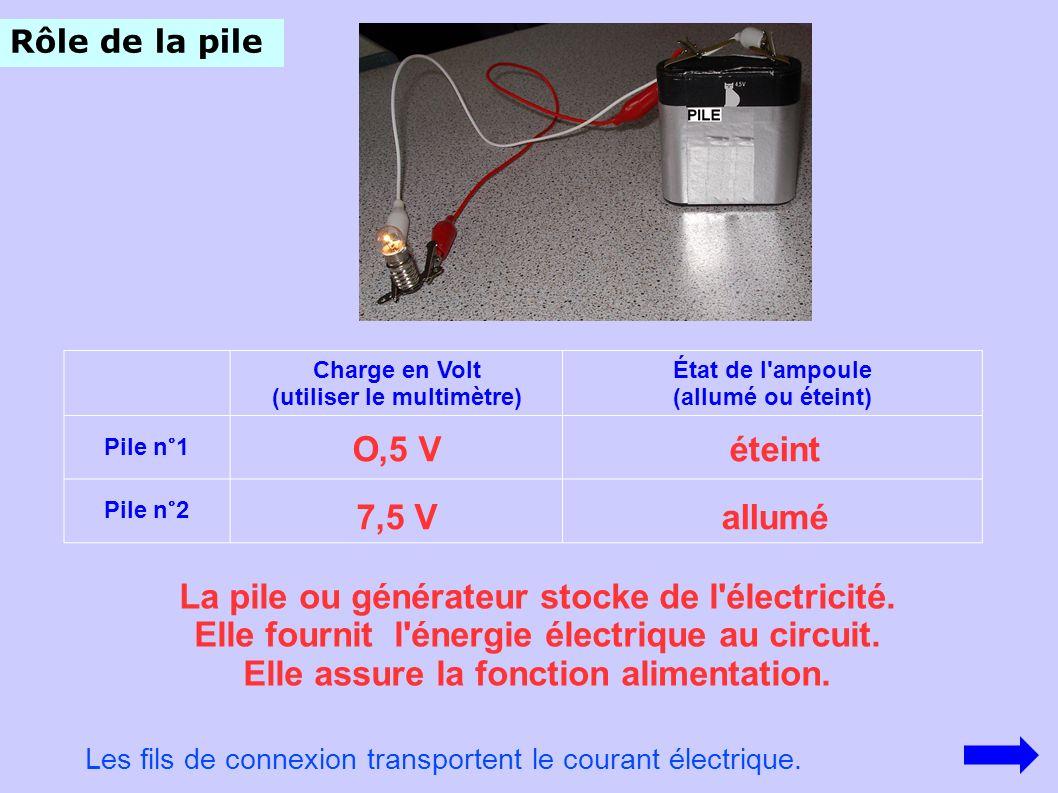 La pile ou générateur stocke de l électricité.