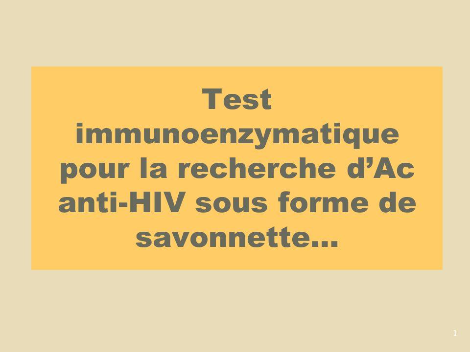 Test immunoenzymatique pour la recherche d'Ac anti-HIV sous forme de savonnette…
