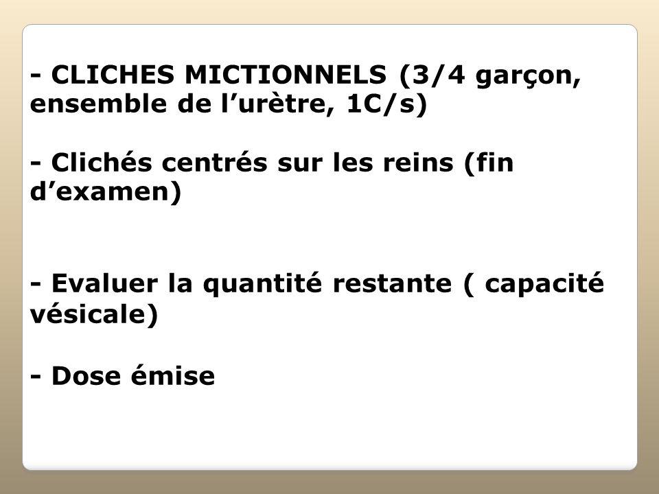 - CLICHES MICTIONNELS (3/4 garçon, ensemble de l'urètre, 1C/s)