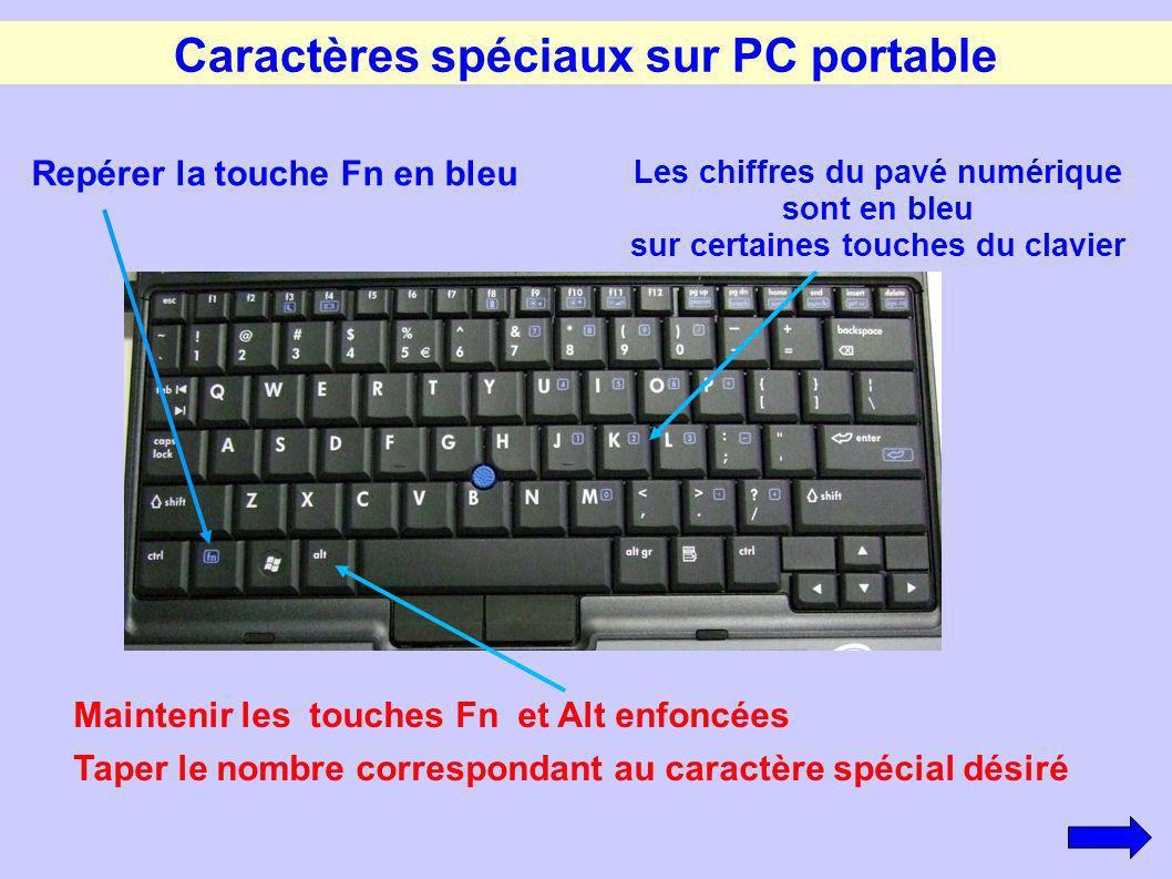 Caractères spéciaux sur PC portable