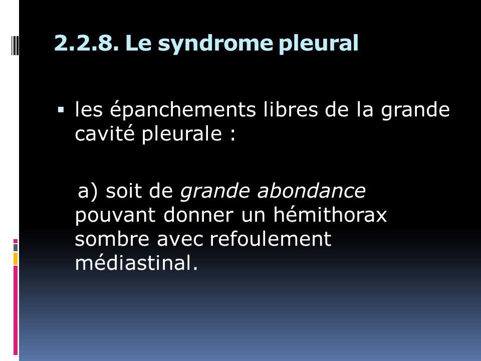 2.2.8. Le syndrome pleural les épanchements libres de la grande cavité pleurale :