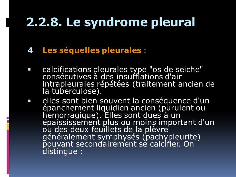 2.2.8. Le syndrome pleural Les séquelles pleurales :