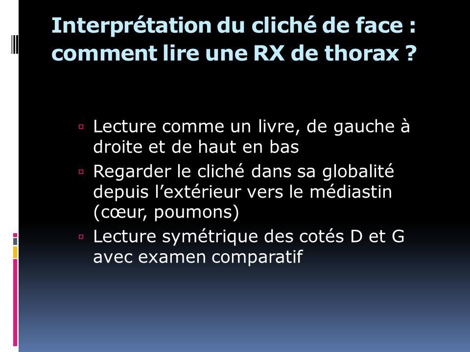 Interprétation du cliché de face : comment lire une RX de thorax