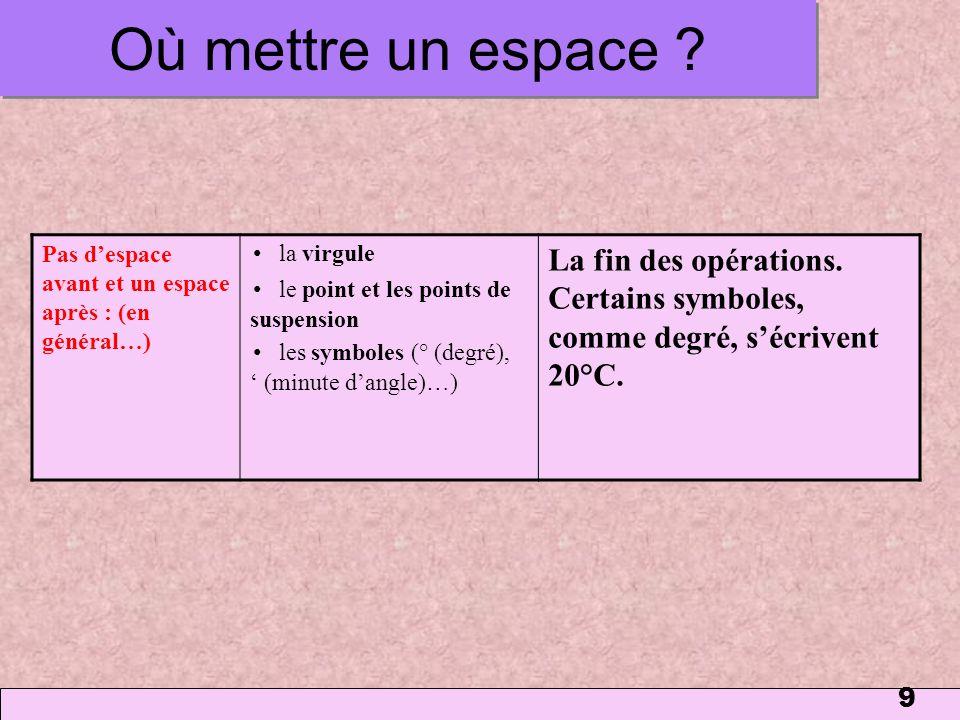 Où mettre un espace 1 mars 2006. Pas d'espace avant et un espace après : (en général…) • la virgule.