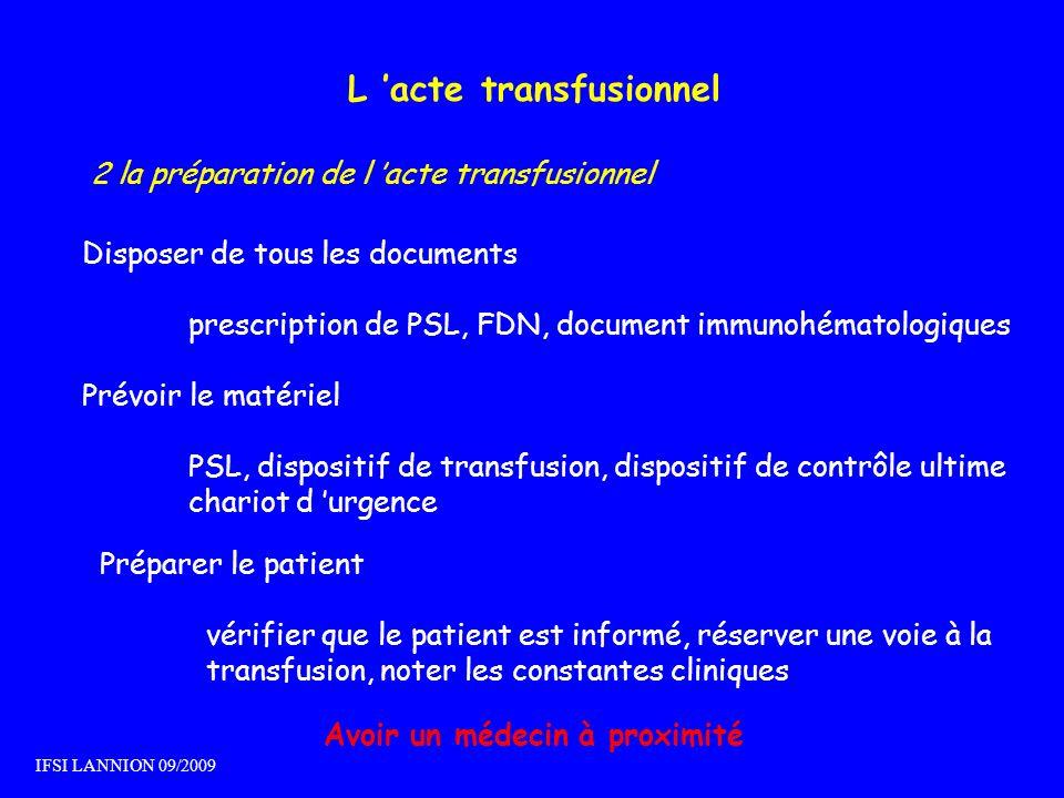 L 'acte transfusionnel Avoir un médecin à proximité