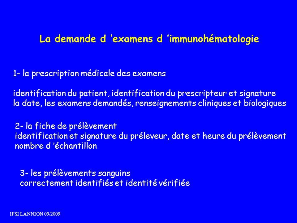 La demande d 'examens d 'immunohématologie
