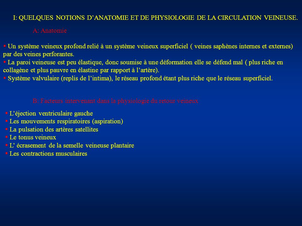 I: QUELQUES NOTIONS D'ANATOMIE ET DE PHYSIOLOGIE DE LA CIRCULATION VEINEUSE.