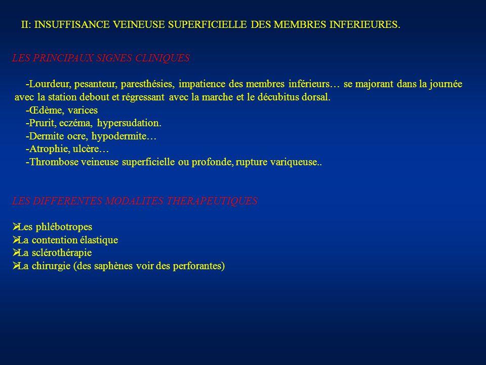 II: INSUFFISANCE VEINEUSE SUPERFICIELLE DES MEMBRES INFERIEURES.