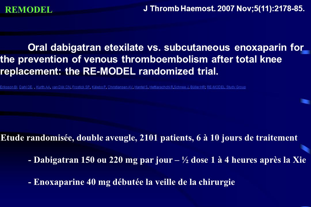 REMODEL J Thromb Haemost. 2007 Nov;5(11):2178-85.