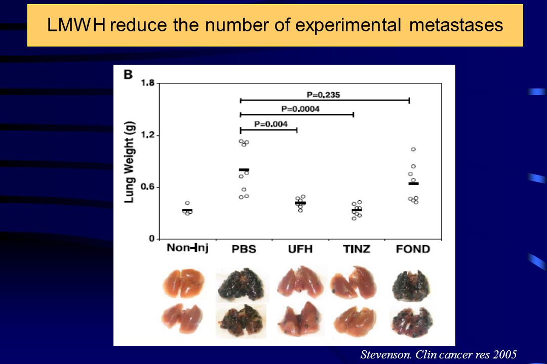 LMWH reduce the number of experimental metastases