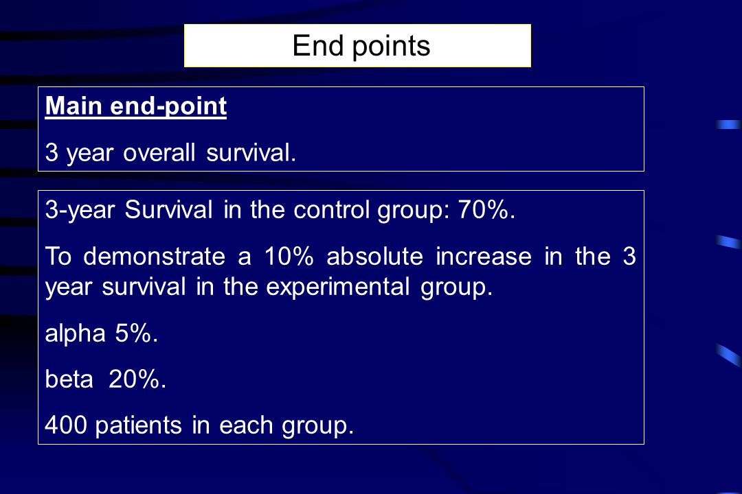 End points Main end-point 3 year overall survival.