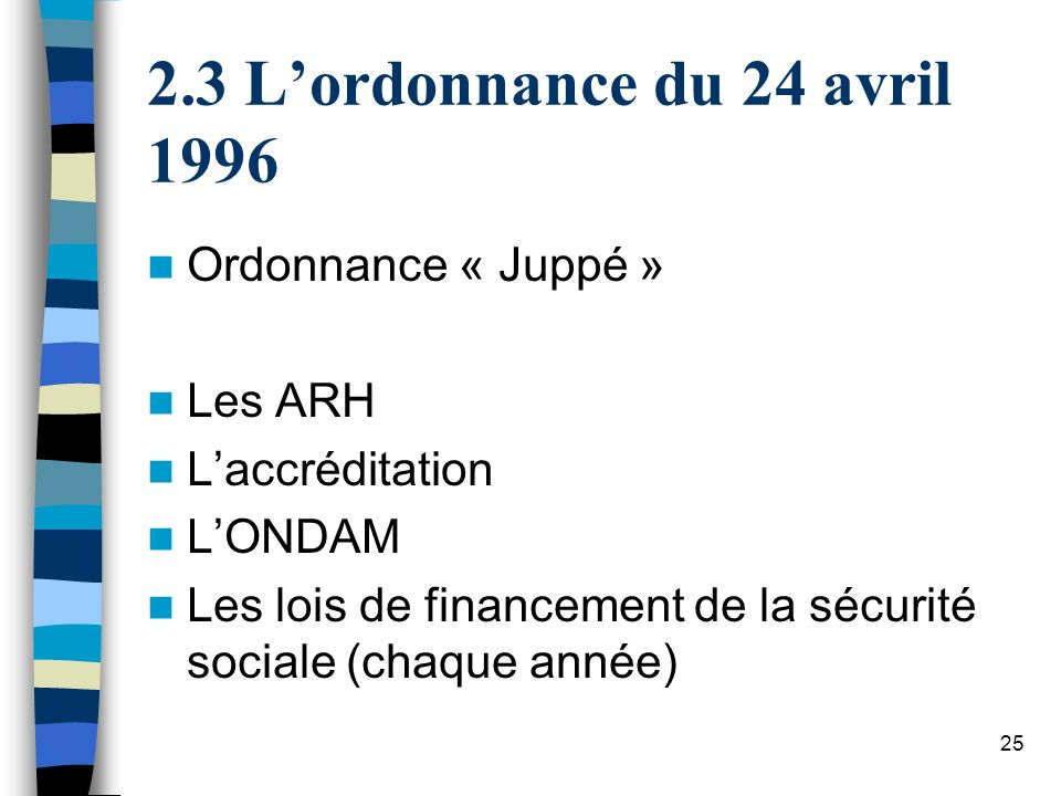 3 L'ordonnance du 24 avril 1996 Ordonnance « Juppé » Les ARH