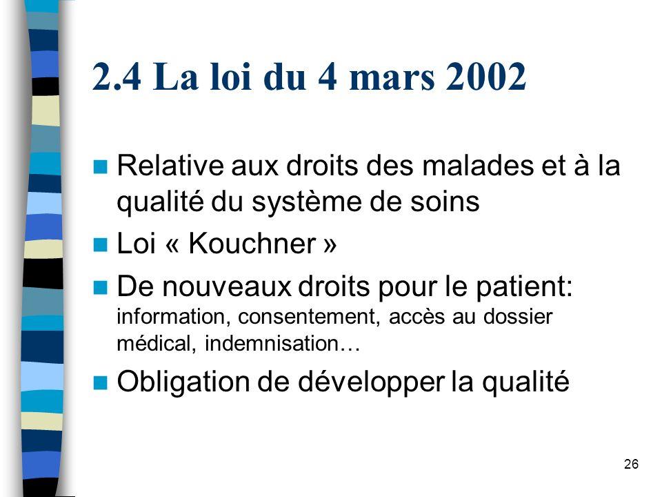 4 La loi du 4 mars 2002 Relative aux droits des malades et à la qualité du système de soins. Loi « Kouchner »