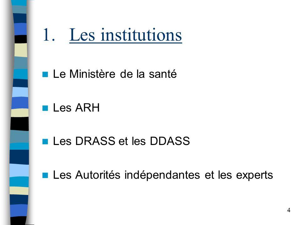 Les institutions Le Ministère de la santé Les ARH