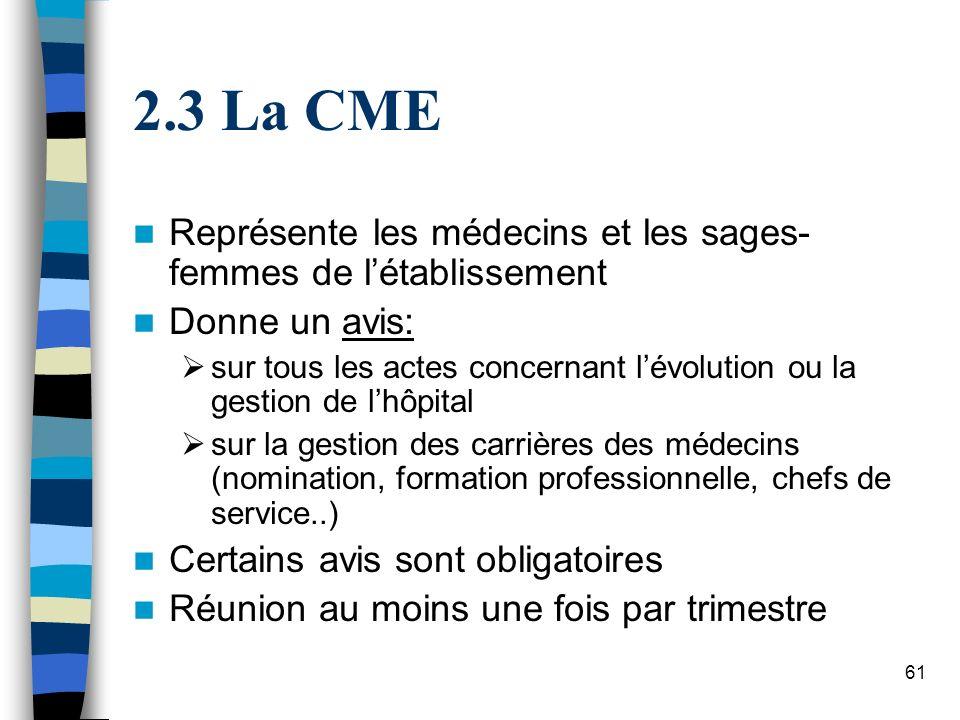 3 La CME Représente les médecins et les sages-femmes de l'établissement. Donne un avis: