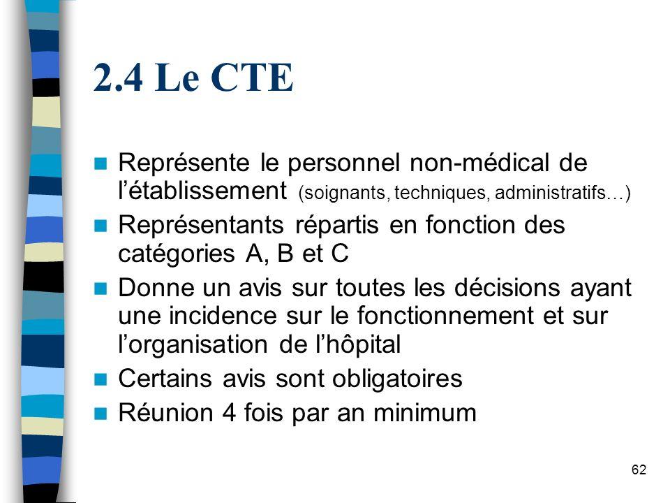 4 Le CTE Représente le personnel non-médical de l'établissement (soignants, techniques, administratifs…)