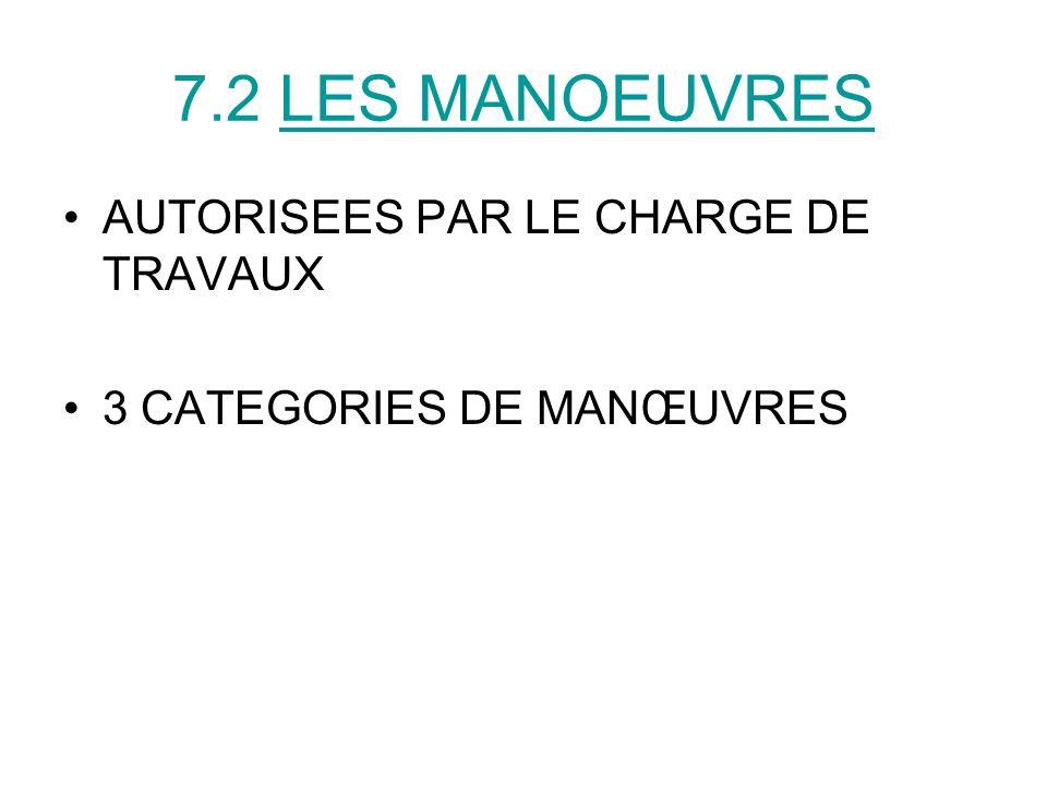7.2 LES MANOEUVRES AUTORISEES PAR LE CHARGE DE TRAVAUX