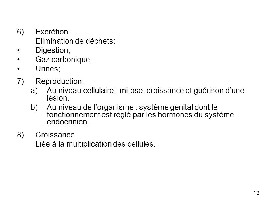 Excrétion. Elimination de déchets: Digestion; Gaz carbonique; Urines; Reproduction.
