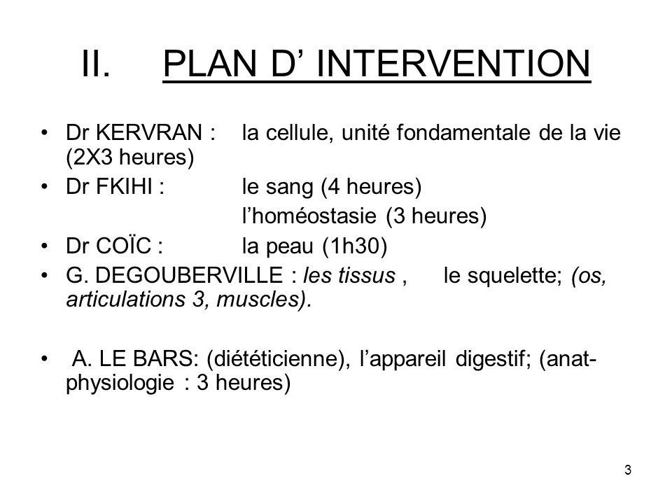 PLAN D' INTERVENTION Dr KERVRAN : la cellule, unité fondamentale de la vie (2X3 heures) Dr FKIHI : le sang (4 heures)