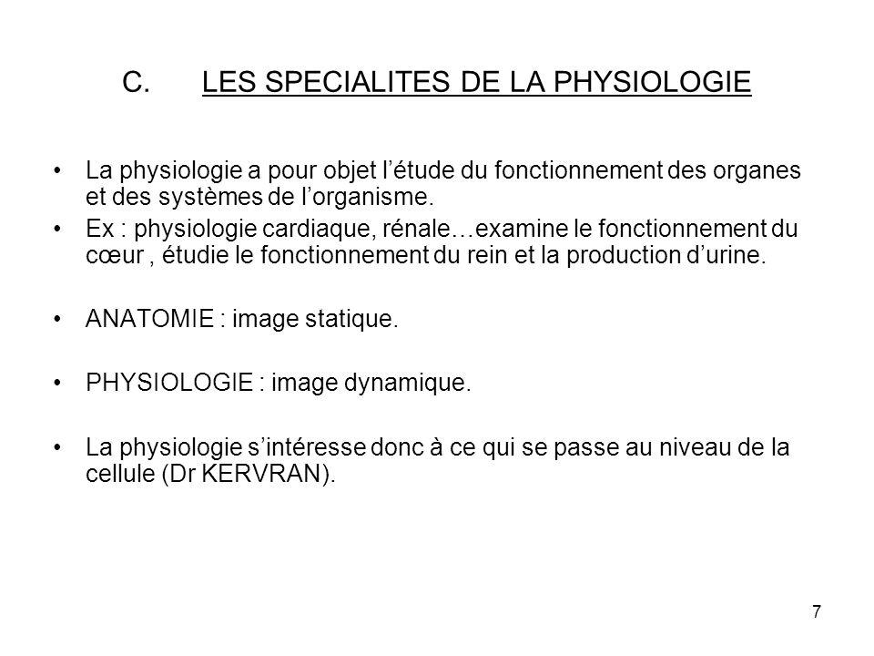 LES SPECIALITES DE LA PHYSIOLOGIE