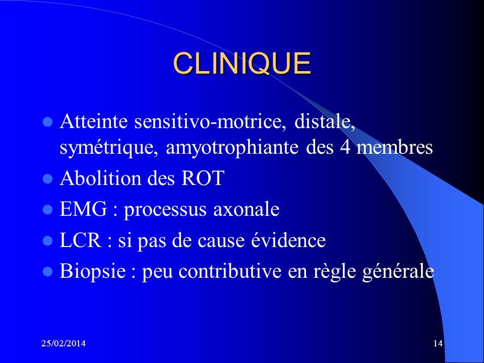 CLINIQUEAtteinte sensitivo-motrice, distale, symétrique, amyotrophiante des 4 membres. Abolition des ROT.