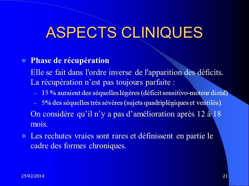 ASPECTS CLINIQUES Phase de récupération