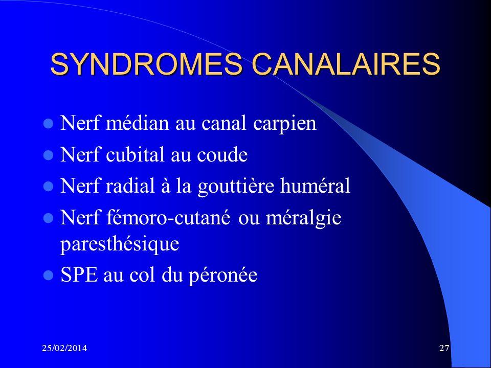 SYNDROMES CANALAIRES Nerf médian au canal carpien