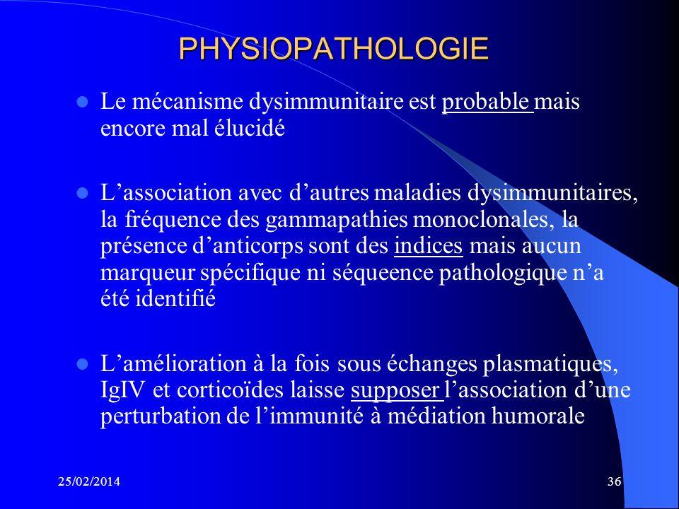 PHYSIOPATHOLOGIE Le mécanisme dysimmunitaire est probable mais encore mal élucidé.