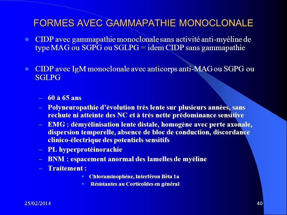 FORMES AVEC GAMMAPATHIE MONOCLONALE