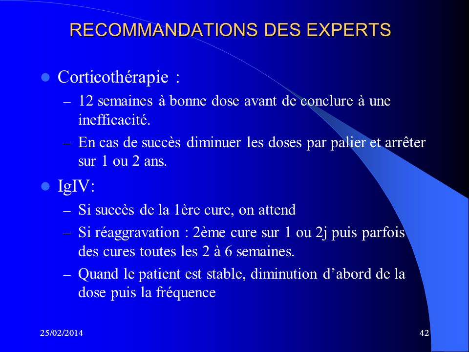 RECOMMANDATIONS DES EXPERTS