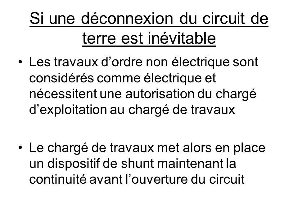 Si une déconnexion du circuit de terre est inévitable