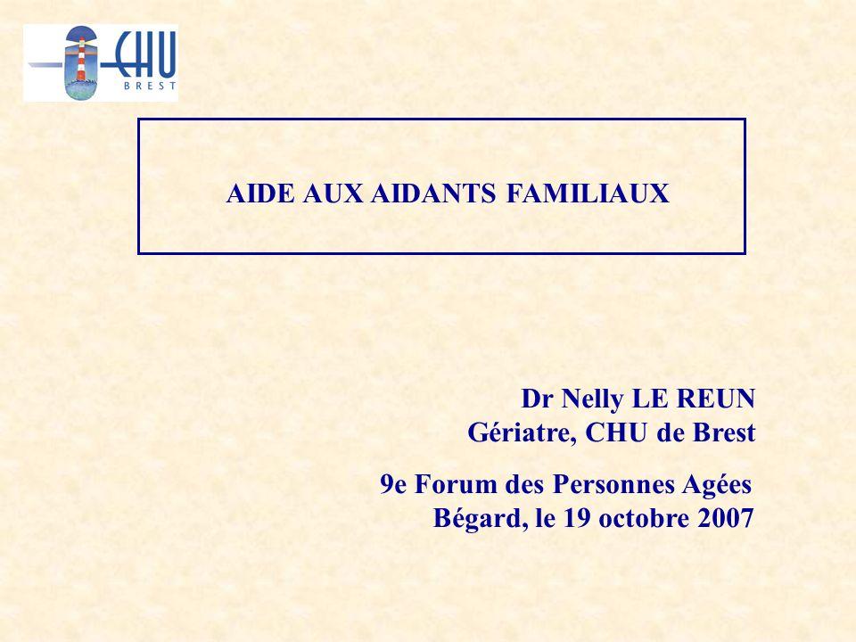 AIDE AUX AIDANTS FAMILIAUX 9e Forum des Personnes Agées