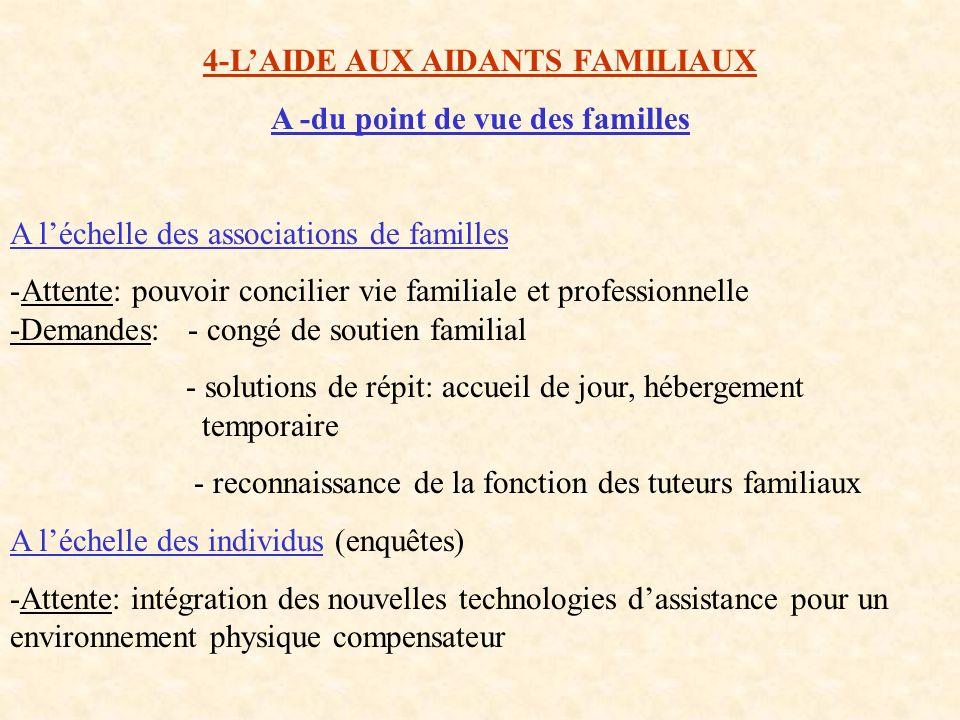 4-L'AIDE AUX AIDANTS FAMILIAUX A -du point de vue des familles