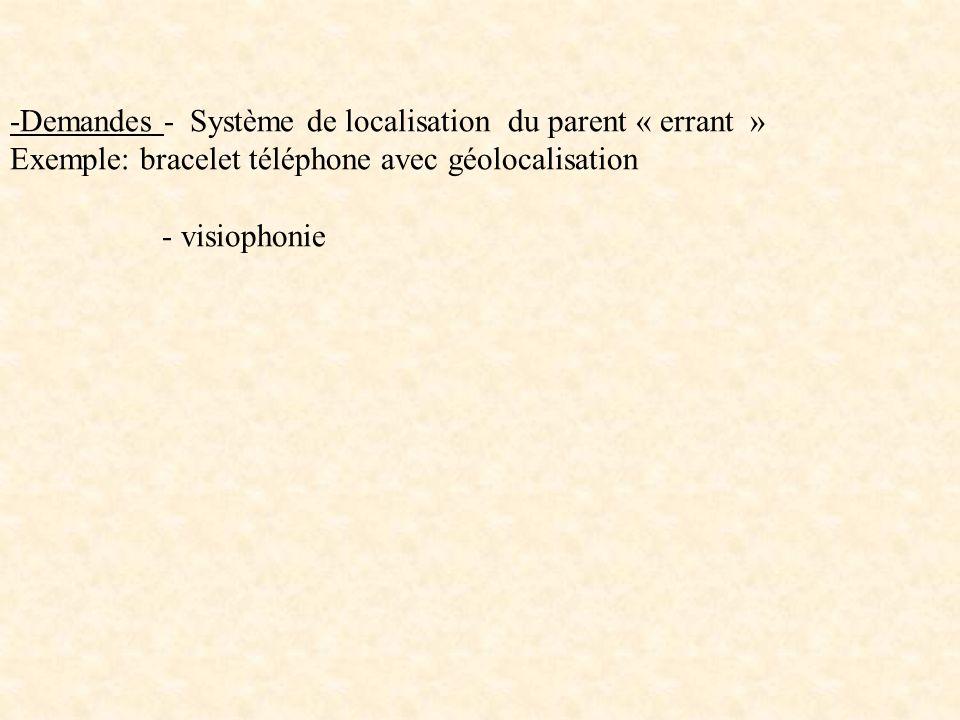 -Demandes - Système de localisation du parent « errant »