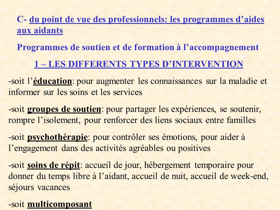 1 – LES DIFFERENTS TYPES D'INTERVENTION