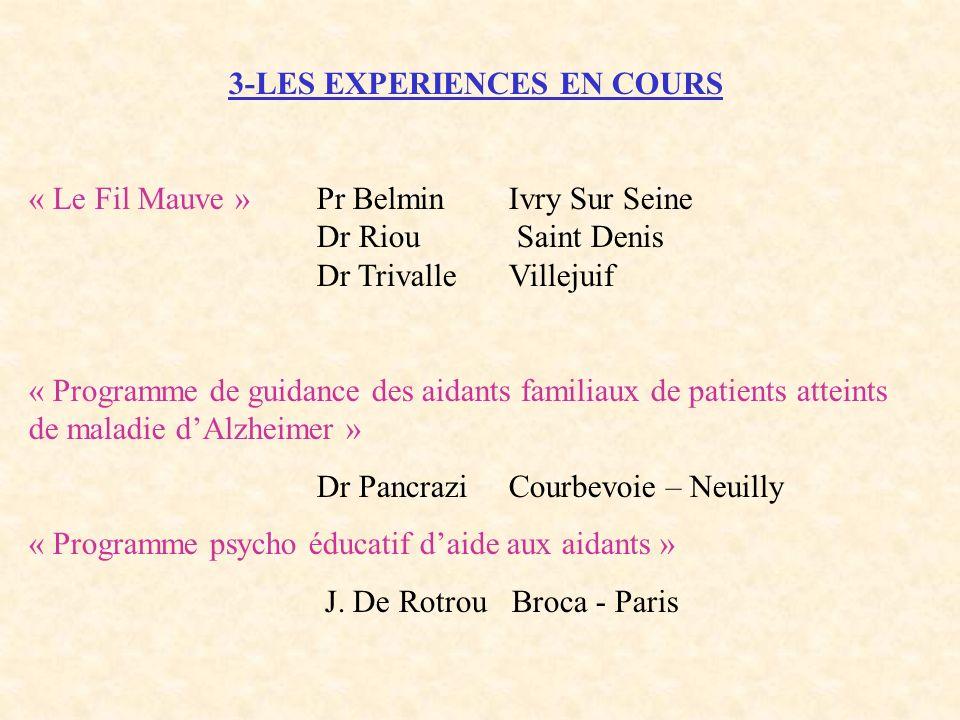 3-LES EXPERIENCES EN COURS