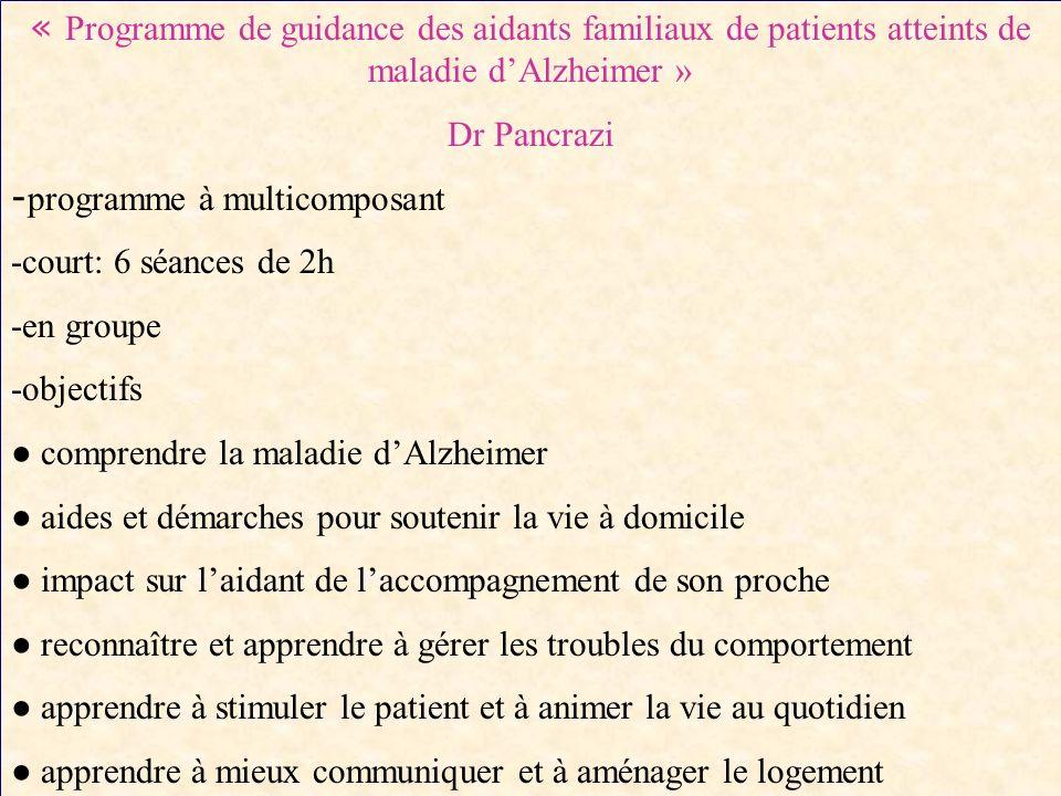« Programme de guidance des aidants familiaux de patients atteints de maladie d'Alzheimer »