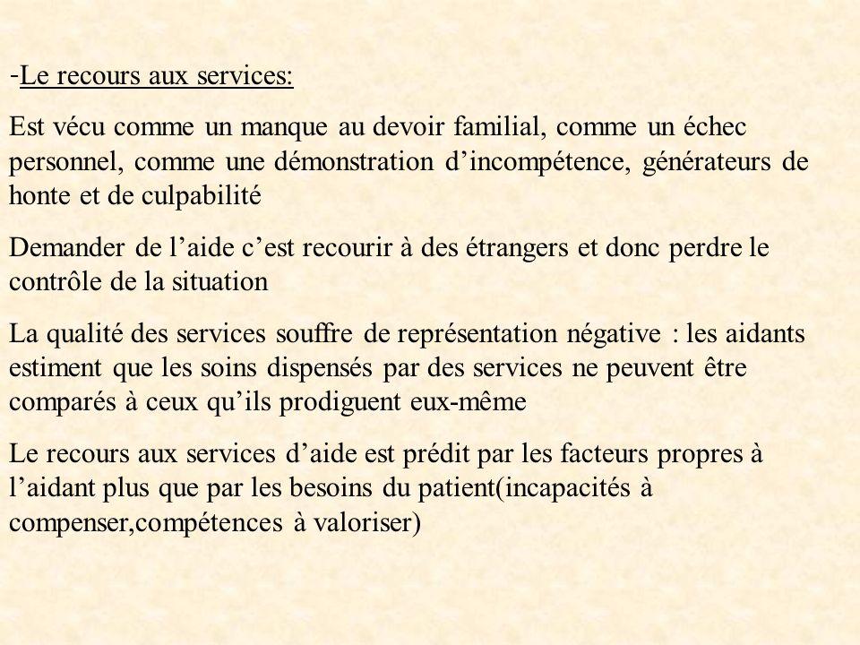 -Le recours aux services: